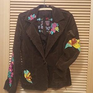 Johnny Was embroidered brown blazer.